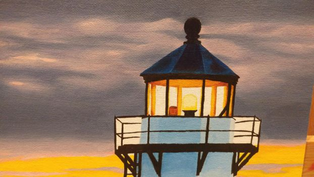 Lighthouse at Dawn WIP (part 4 close-up) by MistressJainali