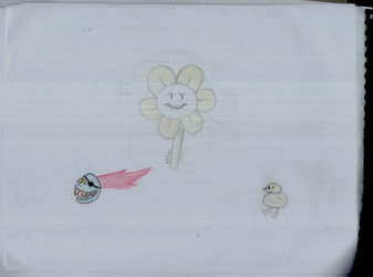 Flowey, Undyne and the bird from Waterfall by WilkerS1