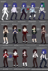 Drew and Aiden's character/clothing sheets by Slice-of-Eyebrows