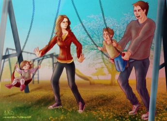 Castle and Beckett pushing their kids on the swing by Lizeeeee