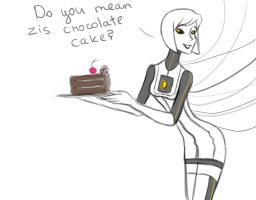 Glados with cake by GothicDarkShine