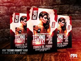 Techno Fridays Party Flyer PSD Template by pawlowskiart