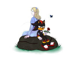 Shadow and Maria (Art Trade) by lizathehedgehog