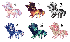 PUPPIES WOLVES-ADOPTABLES-3- AUCTION OPEN! by Assasin-Core
