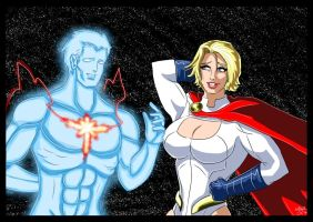 Captain Atom and Powergirl - Don't i know you ? by adamantis