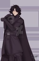 Kylo Ren with Darth Vader's helmet by NikaInfinity