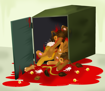 Dumpster with pieces of lion by LE0PATRA