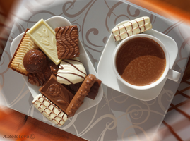 Belgian dessert with hot Chocolate 1 by AnnaZLove