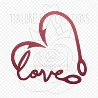Decal - Fishing Love - Fishing Hook Heart by TiaLorelei