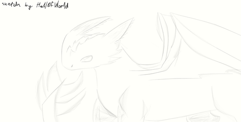 Dragon sketch (not Toothless) by HellOfWorld