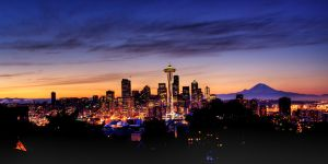 Seattle Skyline Sunrise 1 HDR by AaronPlotkinPhoto