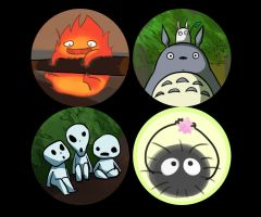Ghibli Button Series by Xanhee-Side