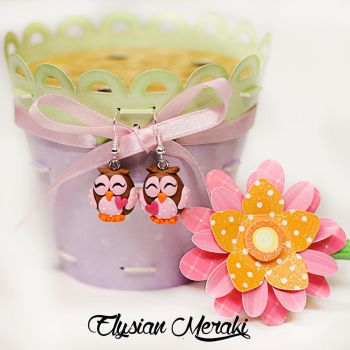 pink owl earrings polymer clay by borntosparkle