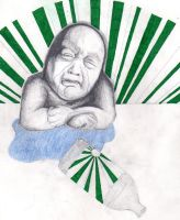 Sad old asian baby by dizdrawspictures