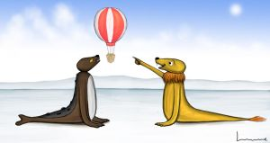 Sealion Sees A Hot Air Balloon by Louisetheanimator