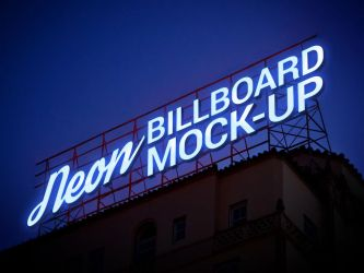 Free Electric Neon Sign Billboard Mockup Psd by Designbolts