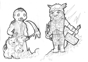 Hades and Thor chibi by FuriarossaAndMimma