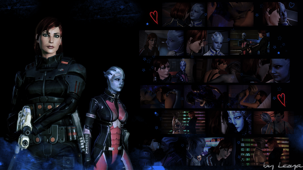 Femshep and Liara by Lezya