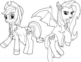 Applejack van Helsing and Countess Flutterbat by MaximirusuPauaa