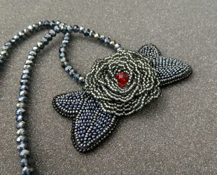 Gothic Rose necklace with bead embroidered pendant by YANKA-arts-n-crafts