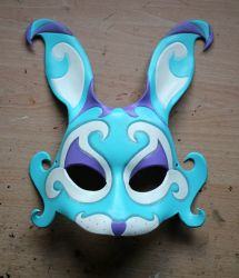 Blue fantasy bunny leather mask by ShadowFoxLeatherwork
