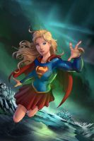 Supergirl Leaving the Fortress of Solitude by cehnot