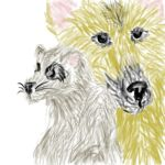 Coon and Dog on Tablet by KaraCrane