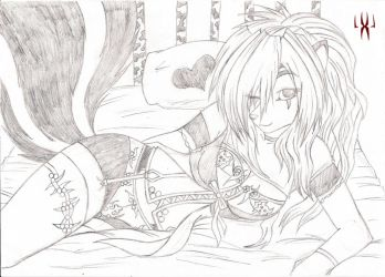 Laying at the bed WIP by WhiteFurr