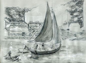 Gray Boat Sketch by Plotholetsi