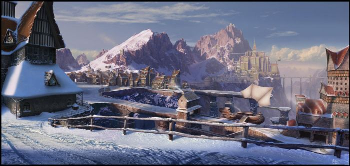 Bridge town matte painting by matellis