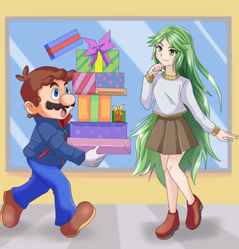 Commission: Mario and Palutena by StarRockie