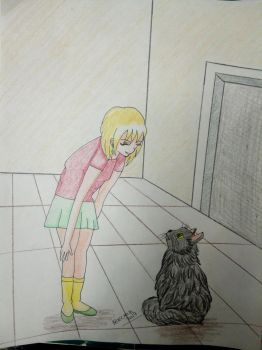 girl and cat by Sailorferchy