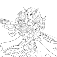 Blood Elf hunter lineart by raimy329