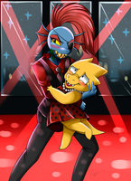 [F]Undertale- Undyne x Alphys Valentines by Sweetochii