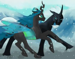 WinterDominus and Chrysalis by AstralAnomaly
