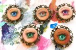 Hand painted lovers eye brooches by camilladerrico
