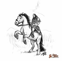 Horse and rider sketch by ChemaIllustration