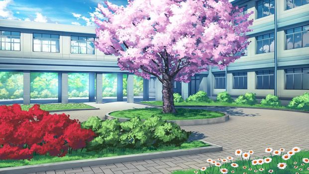 Sakura Shrine Girls - School BG by Badriel