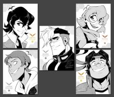 Team Voltron B+W portraits by zillabean