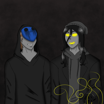 Eyeless Jack and Puppeteer by SqueakyNoodle