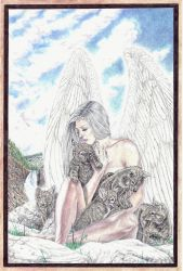 Angel and Wolves by  Heshima by HeshimaBlackStarArt