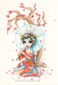 Watercolour Geisha by kinkei