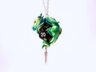 Yellow Blue and Green Dragon on Opaque Black D20 by Euphyley