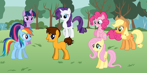 Marcus with the Mane Six in Equestria by Eli-J-Brony