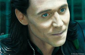 Mischievous Loki (drawing) by Quelchii