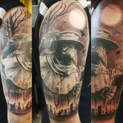 Plague doctor tattoo by tuomaskoivurinne