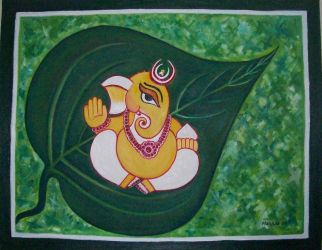 Ganesha on Leaf by manjulak