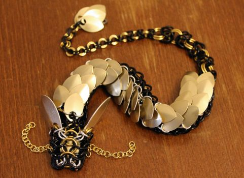 Golden Black Chainmaille Dragon by SerenFey