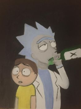 Rick n Morty Oil Painting by snuffcat