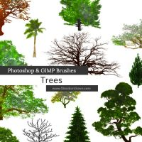 Trees Photoshop and GIMP Brushes by redheadstock